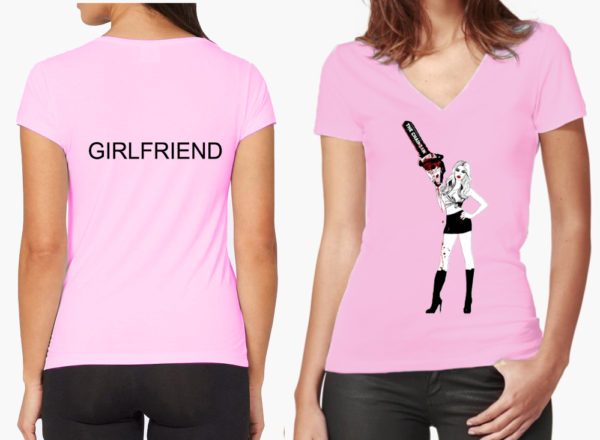 chainsaw v-neck women's tee in pink